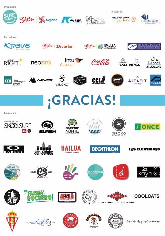 Patrocinadores y colaboradores surf solidario 2017