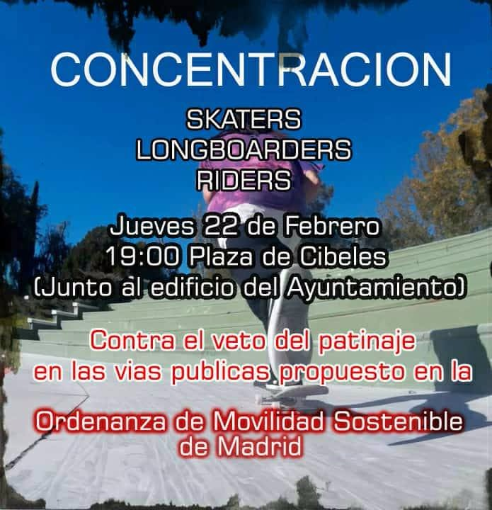 Concentracion Skaters Longboardes Riders Ayuntamiento de Madrid