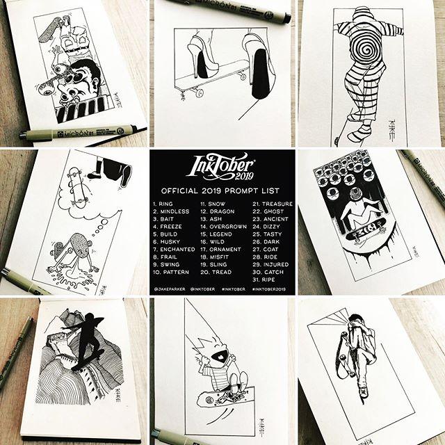 Kike Koletadeth skate e ilustracion Resumen Inktober19